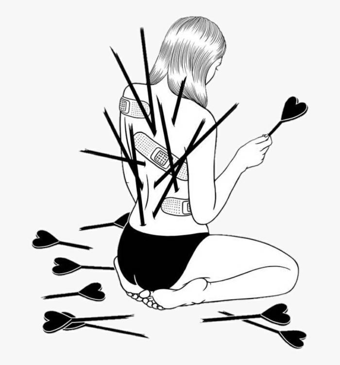 dibujos tumblr a lapiz originales, ideas de obras de arte con una idea simbolica, mujer con flechas corazon en el cuerpo