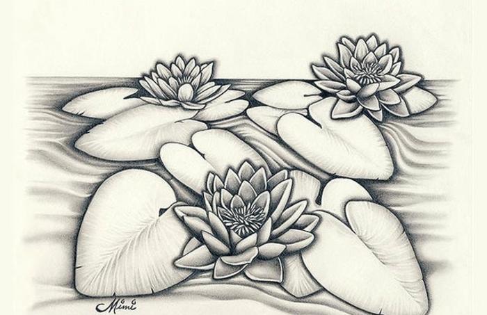 dibujos de flores bonitas, dibujos de flores de loto, fantasticas ideas de dibujos sencillos y faciles de hacer para imprimir
