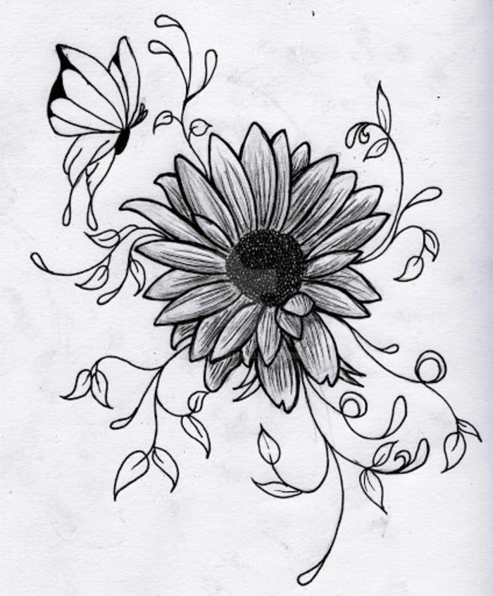 inspiradoras propuestas de dibujos faciles de hacer que puedes calcar, precioso dibujo de flor ornamentado y una mariposa