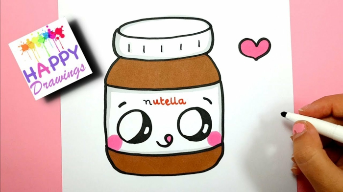 ideas de dibujos divertidos y oriignales, frasco de nutella para dibijar en casa, fotos de dibujos chulos y orignales