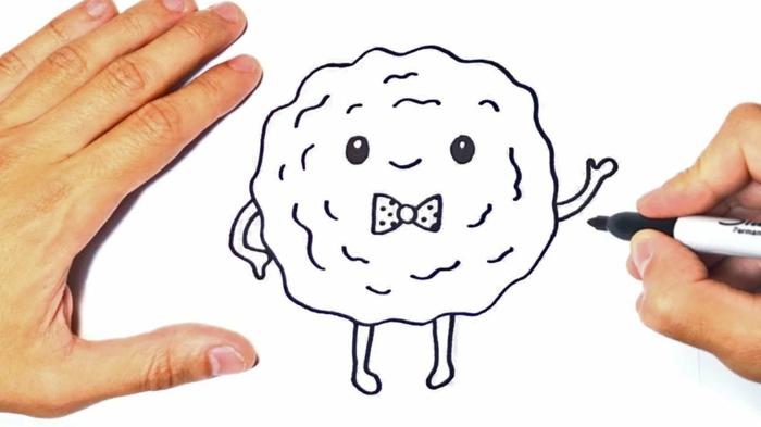 cuquis kawaii, como dibujar una galleta kawaii con cara, las mejores ideas de dibujos faciles y chulos para niños y adultos