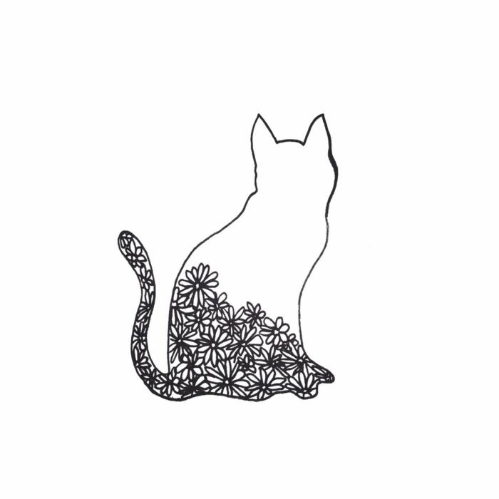 bonito gato con flores, fotos abstractas con un fuerte significado, dibujos faciles de hacer y originales para dibujar en tu hogar