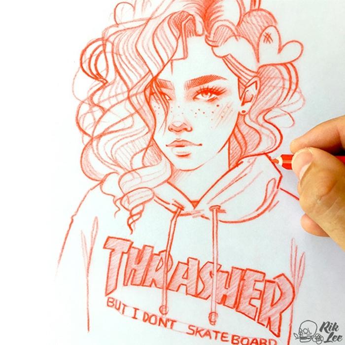 dibujos faciles de hacer y bontios de chicas swag, aprender a dibujar paso a paso, como dibujar una persona a lapiz