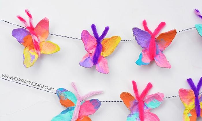 guirnaldas para decorar la pared con mariposas de cartón, manualidades de pascua para niños, fotos de decoraciondes DIY