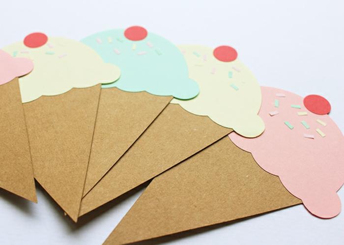 helados de cartulina, ideas de manualidades de cartulina, manualidades niños 3 años originales para hacer en casa