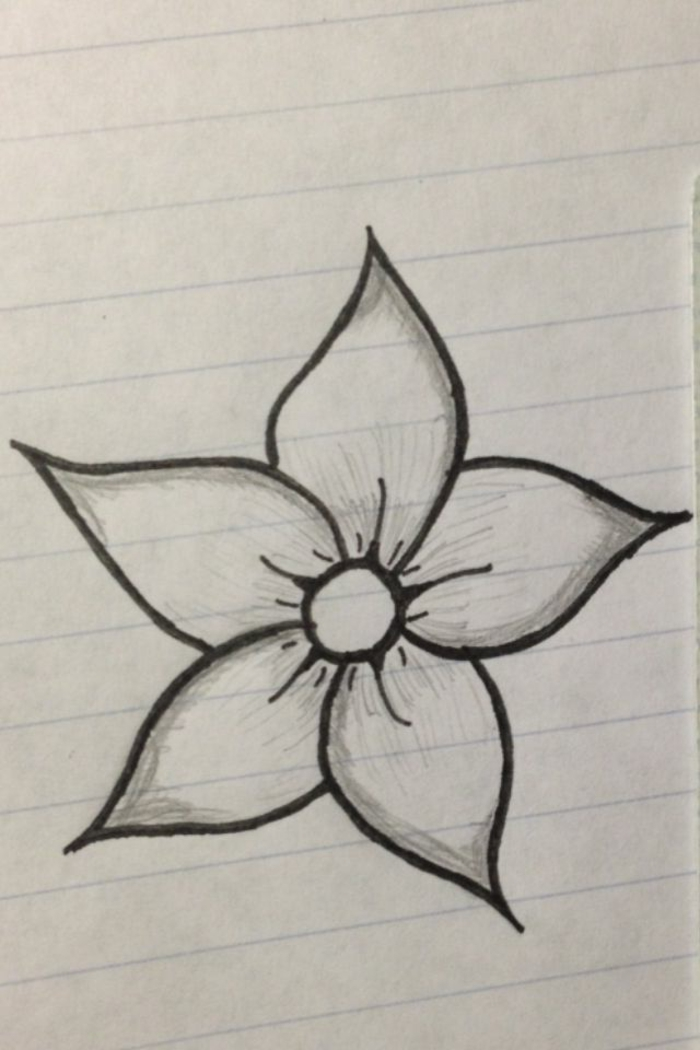 ideas de pasatiempo, plantillas de flores sencillas, como dibujar una flor facil paso a paso, dibujos faciles de hacer en casa