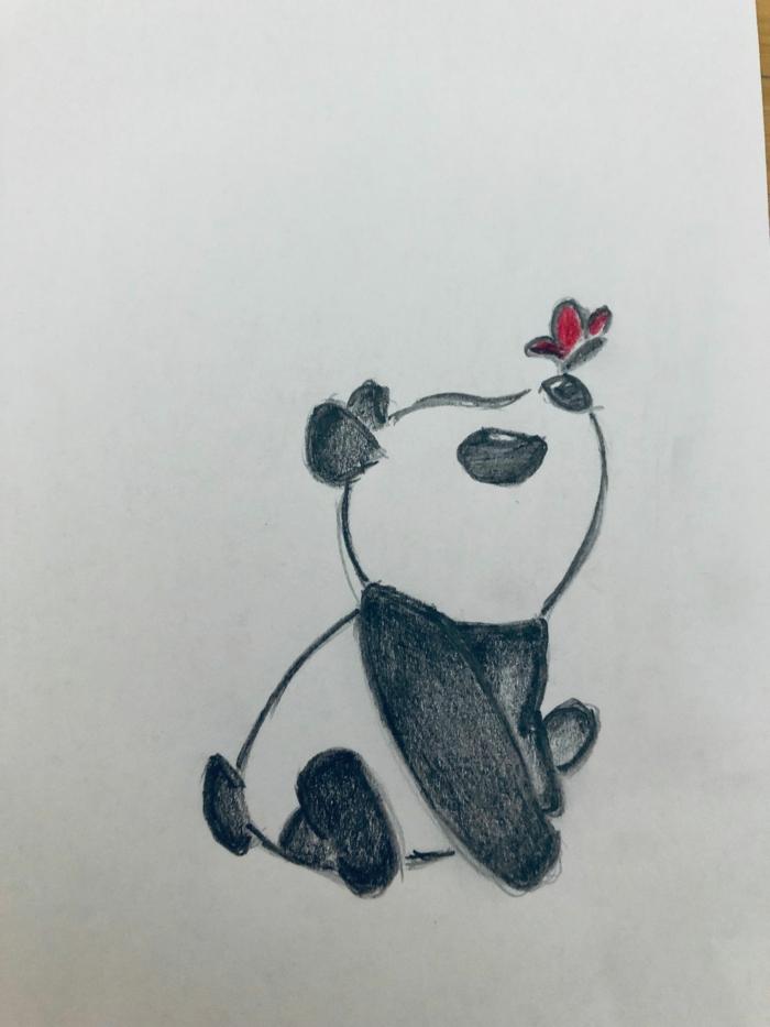 geniales ideas de dibujos para hacer en casa, dibujo panda bonito, las mejores ideas de dibujos en blanco y negro