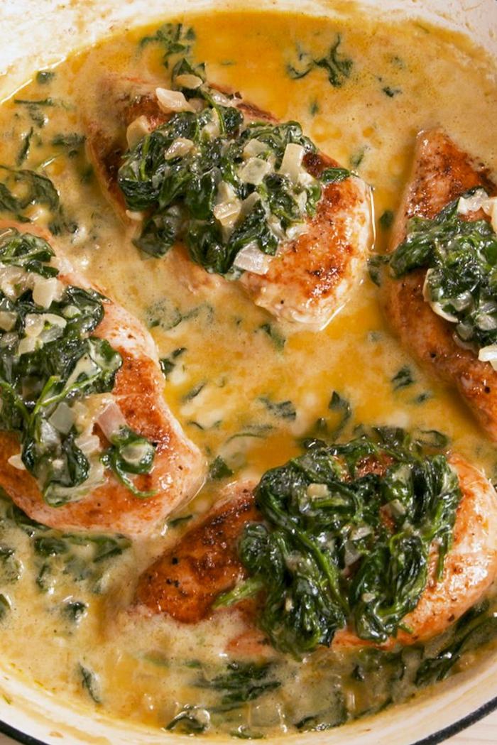 pollo con espinacas y salsa cremosa, recetas economicas para todos los dias, recetas con pechuga de pollo originales