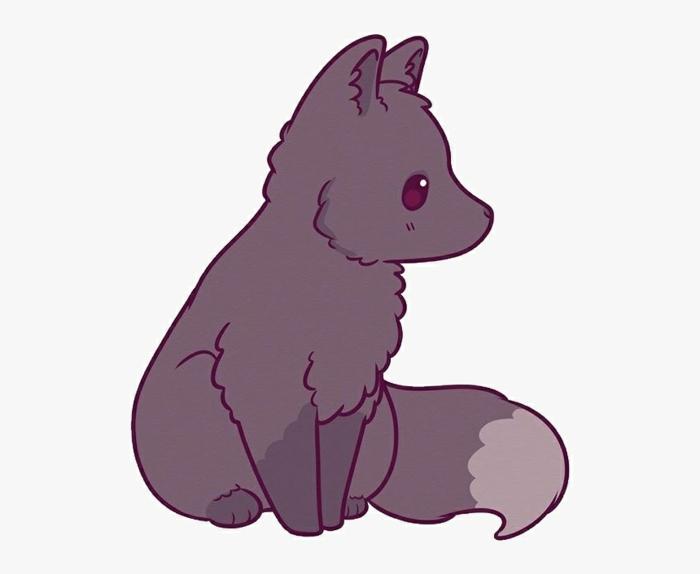 dibujo lobo pequeño en color gris, ideas de dibujos de animales y plantas en estilo kawaii, fotos de dibujos divertidos