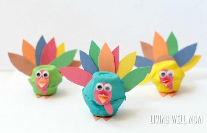 aves coloridas hecahs de hueveras, manualidades de pascua para niños, fotos de manualidades para regalar en primavera