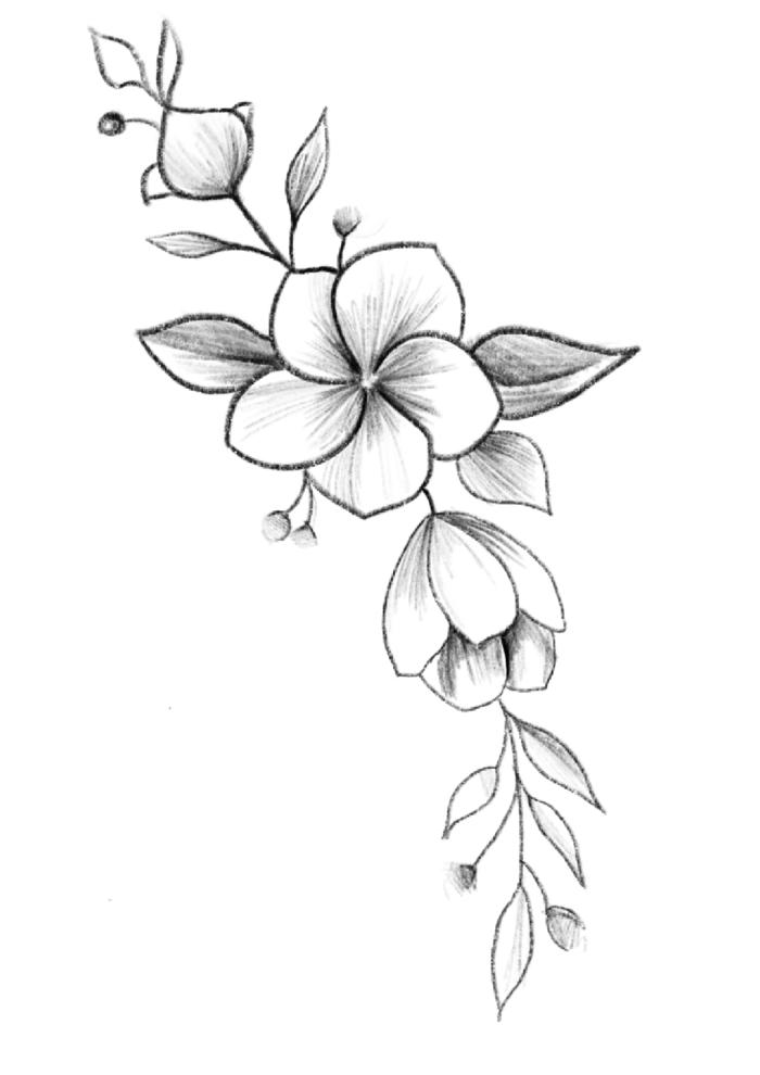 dibujo ramo de flor, originales ideas de dibujos de árboles frutales florecidos, fotos de motivos florales para dibujar en casa