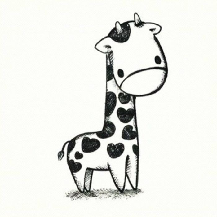 pequeño jirafa con estampado de corazones, ideas de imagenes de dibujos kawaii, cosas chulas para dibujar con tus niños