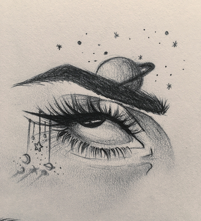 geniales ideas de dibujos a lapiz, dibujos tumblr para dibujar, ojo de mujer y cosas del galáctico, dibujos abstractos