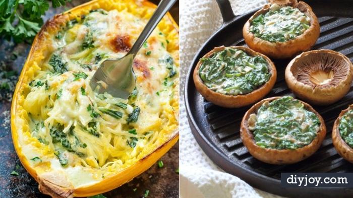 diferentes ideas de recetas de vegetales, barcos vegetales con espinacas a la crema, recetas fáciles y rapidas caseras