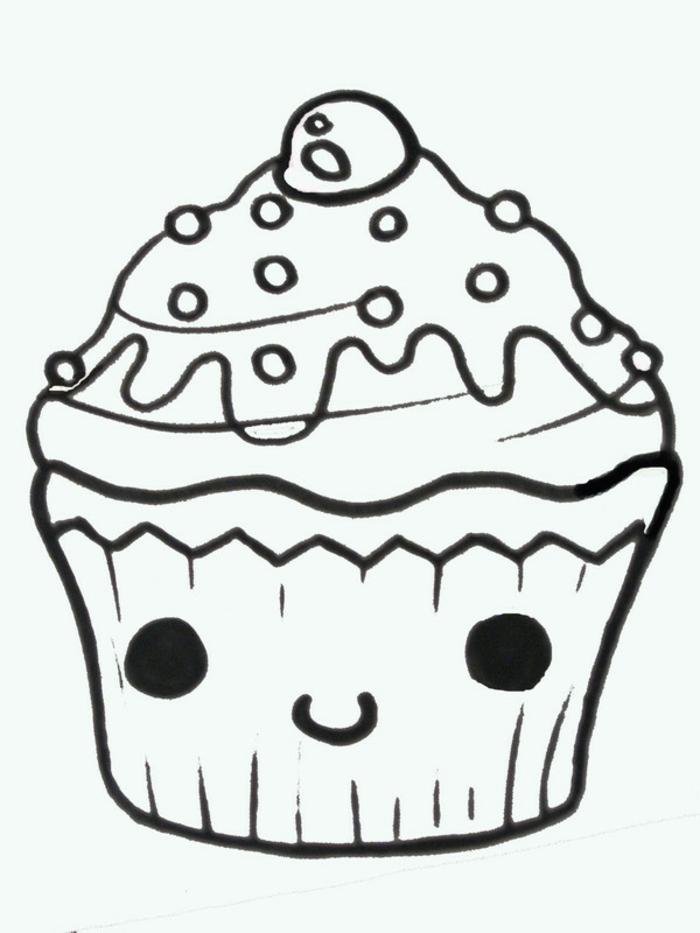 ideas de dibujos de cupcakes con ojos kawaii, las mejores ideas de dibujos de comida kawaii, fotos de dibujos inspiradoras