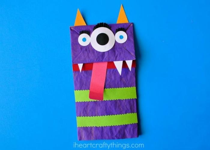 manualidades para niños faciles de hacer, reciclar bbolsas de papel, monstruos de bolsas de papel diy para hacer en casa