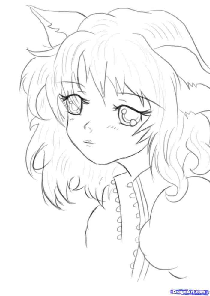 bonita chica dibujada a lapiz, las mejores ideas de como dibujar kawaii, personas dibujadas con ojos kawaii, ideas geniales