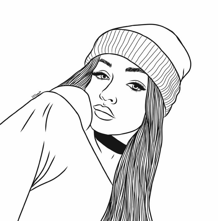 chica swag con sombrero y pelo largo suelto, dibujos de chicas tumblr para inspirarte, aprender a dibujar paso a paso