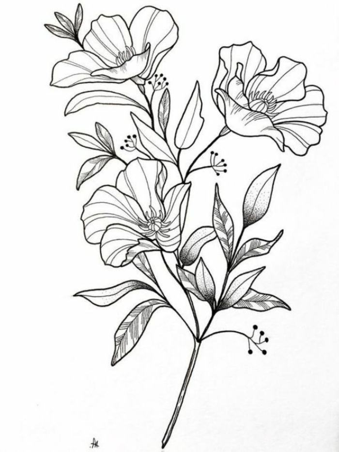ramo de flores dibujo en estilo vintage, ideas de actividades creativas para la primavera, fotos de dibujos bonitos y faciles