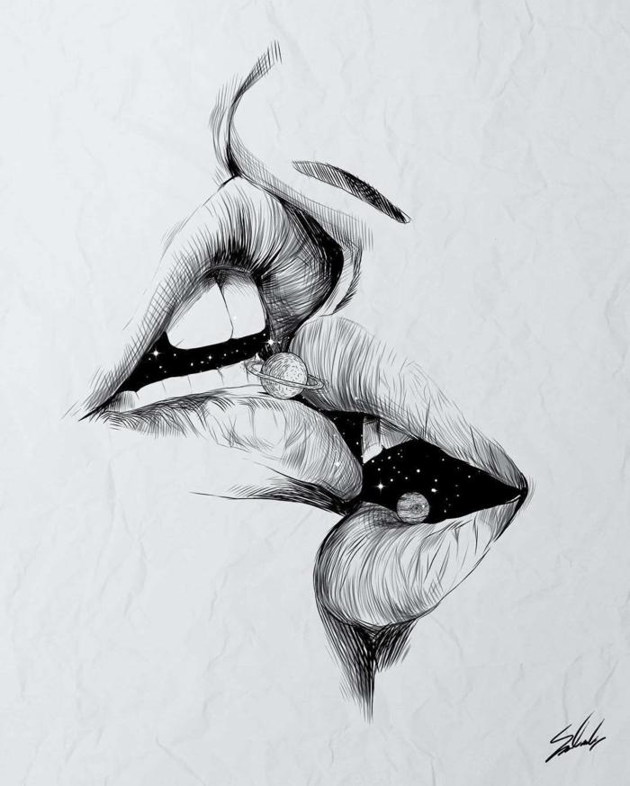 dibujo de beso en blanco y negro, dibujos de chicas tumblr, alucnantes ideas de dibujos con un fuerte significado simbolico