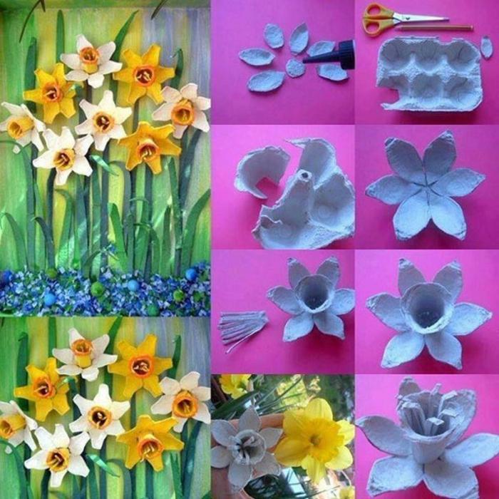 como hacer narcisos de carton originales paso a paso, flores de reciclaje para decorar la casa, ideas originales de manualidades