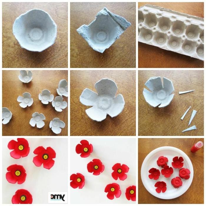 pasos para hacer manualidades con reciclaje, manualidades con cajas de huevo, originales ideas de proyectos DIY