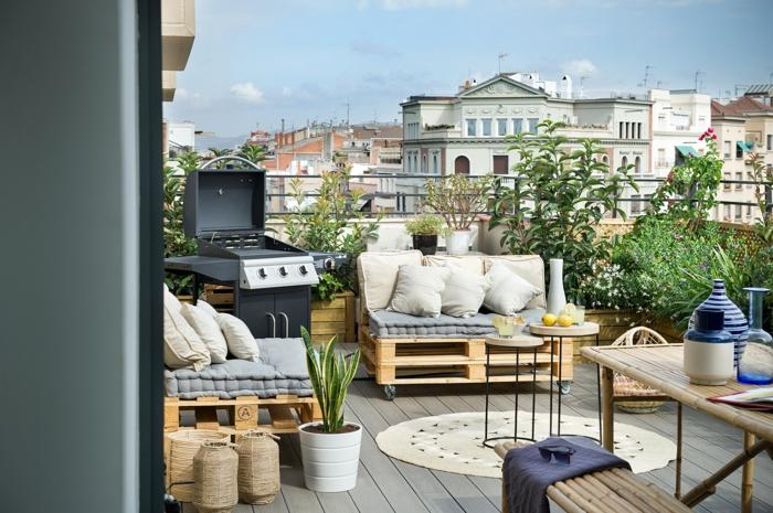 sof'as, mesas y muebles hechos de materiales reciclados, terrazas con palets super bonitas, como convertir tu balcon en un espacio chill out