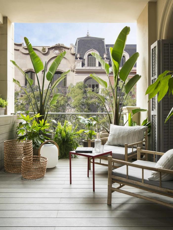 fantasticas ideas sobre como decorarar, terraza chill out con muchas plantas verdes y muebles modernos y funcionales