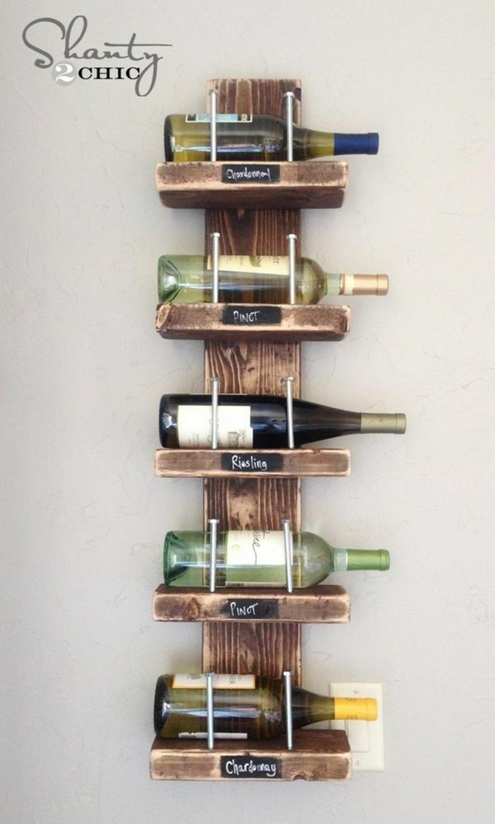 ideas de decoracion de cocina originales, como organizar la cocina paso a paso, estanteria para botellas de vino DIY