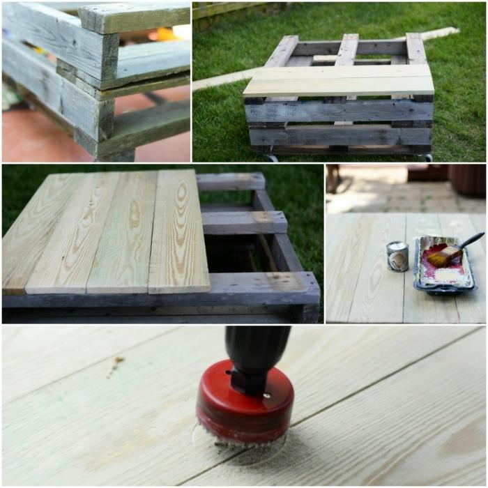 pasos para hacer una pequeña mesa de palets en ruedas, terrazas con palets chulas, muebles DIY para decorar tu patio o terraza