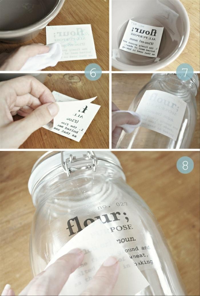 hacer etiquetas para frascos de cocina paso a paso, como organizar la cocina con trucos pequeños, etiquetas DIY originales