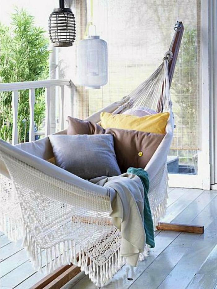 terrazas con hamacas, ikea terraza originales, fotos con ideas sobre como decorar la terraza y crear una zona relax