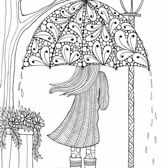 dibujos para colorear de adultos en bonitas imagnes, niña en la lluvia dibujo inspirador, las mejores ideas de diubjos que puedes imprimir