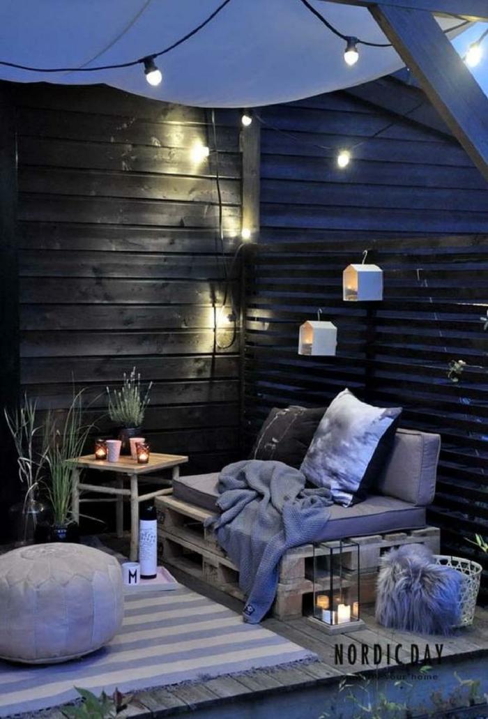 ideas para crear un rinc'on de relax en tu terraza, muebles hechos con reciclaje originales, muebles de palets en fotos bonitas