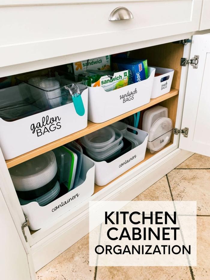 cajas de almacenaje con etiquetas, las mejores ideas sobre como organizar la cocina en fotos, organizador cajones cocina