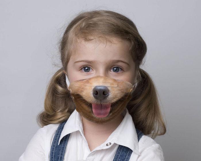 mascarilla divertida infantil con perro, ideas de mascarillas DIY para pequeños y adultos, fotos de mascarillas para hacer en casa