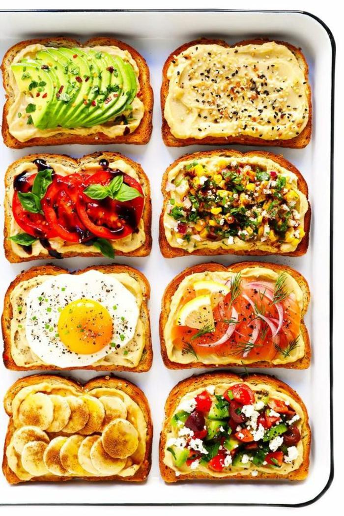 ocho propuestas sobre como comer tostadas con hummus, mejor para comer con niños en fotos, ideas de desayunos saludables