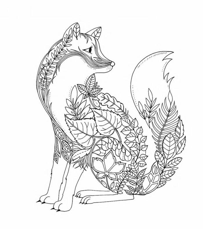 zorro con elementos florales, dibujos para colorear para adultos, fotos de dibujos originales y faciles de colorear para imprimir