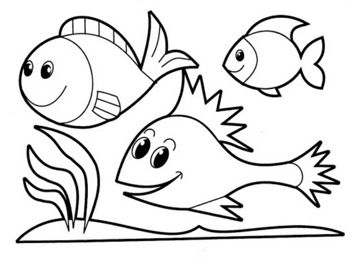 tres peces bonitos para redivujar, dibujos para colorear faciles para niños y adultos, ideas de dibujos infantiles originales