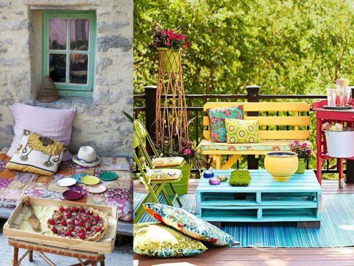 coloridas propuestas de decoracion de terraza, muebles de palets originales y bonitos, como hacer mesas de palets