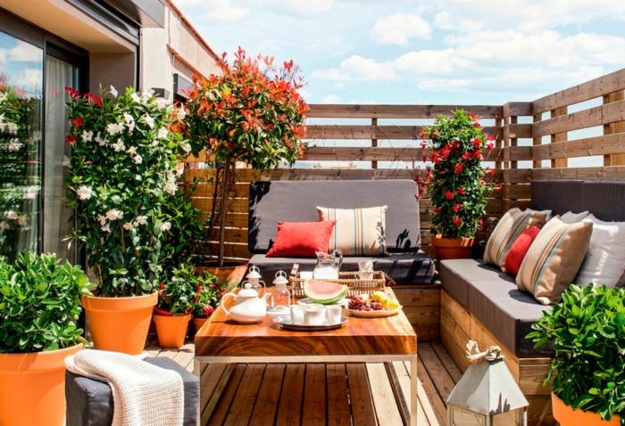 sillones y sofas con palets para decorar tu terraza, idea de terrazas con muebles de reciclaje, convierte tu terraza en un ambiente para relax