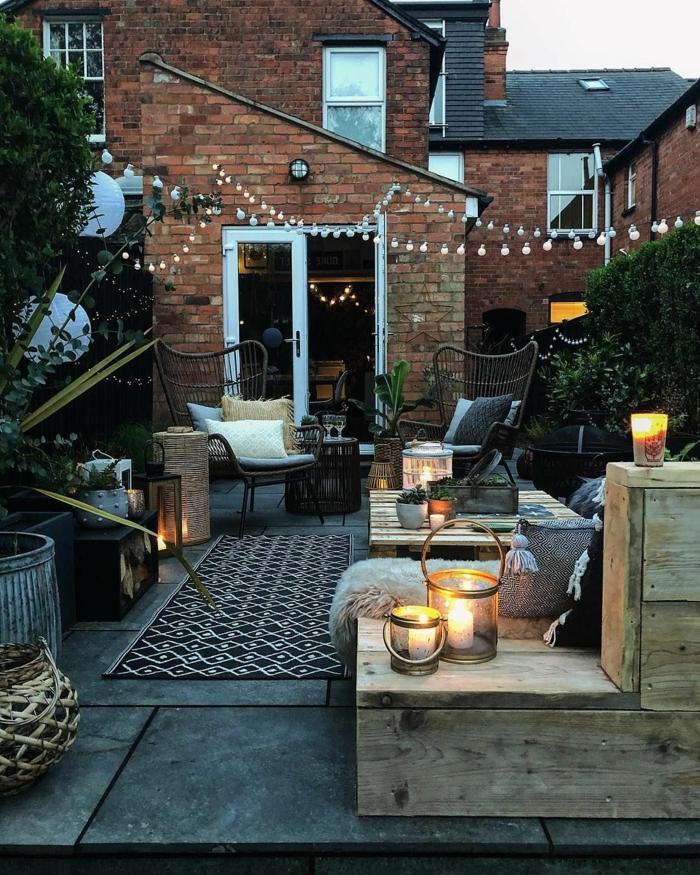 patios y muebles de jardin con palets, ideas de terrazas con muebles de materiales reciclados, fotos de balcones y terrazas acogedoras