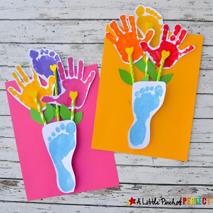 geniales ideas de tarjetas dia de la madre, regalos con huellas infantiles, ramos de flores de papel en bonitos colores