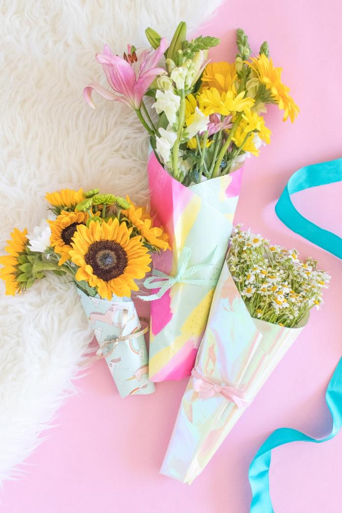 como hacer embalaje casero para ramos de flroes, empaquetar flores paso a paso, regalos originales dia de la madre