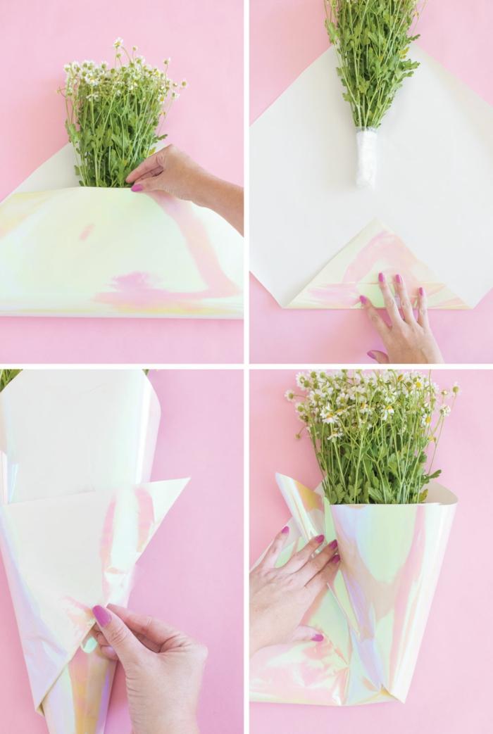 regalos originales para madres, pequeños detalles para sorprender a tu mama, empaquetar a un ramo de flores paso a paso