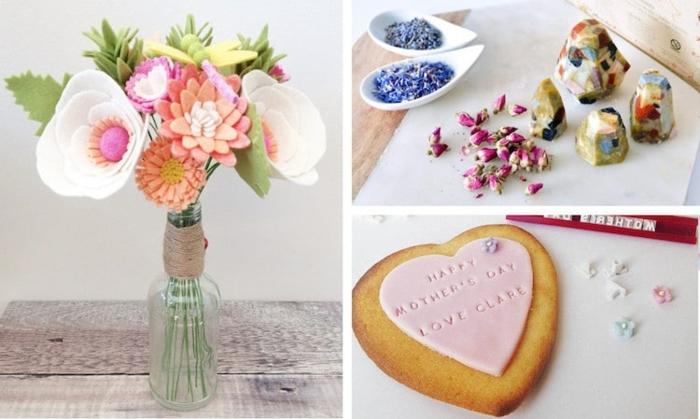 tres magnificas ideas de regalos originales dia de la madre, foots de regalos especiales para tu madre, ramo de flores de fieltro