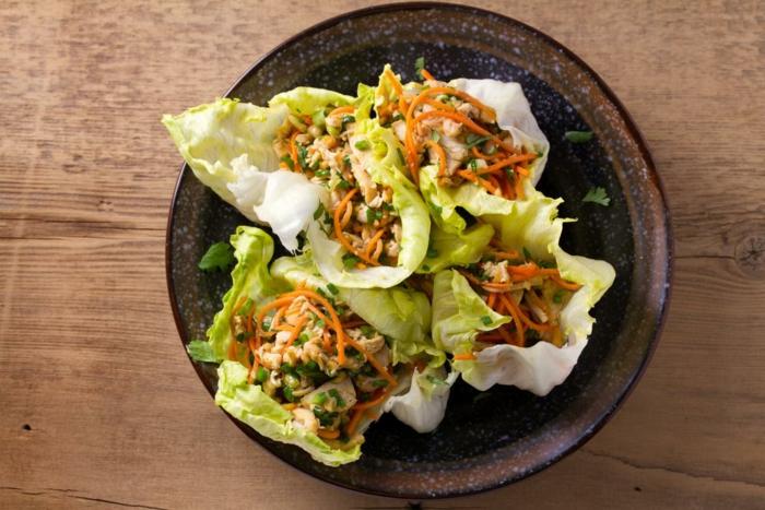 brcos de lechuga con ingredientes proteicos, las mejores recetas con pollo, 90 ideas de recetas proteicas faciles en fotos