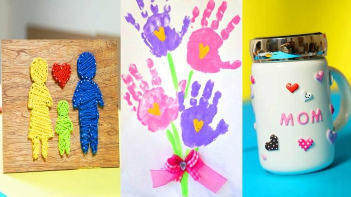 tres bonitas ideas de detalles para el dia de la madre, dibujo ramo de flores con huellas de mano, taza de cafe personalizada
