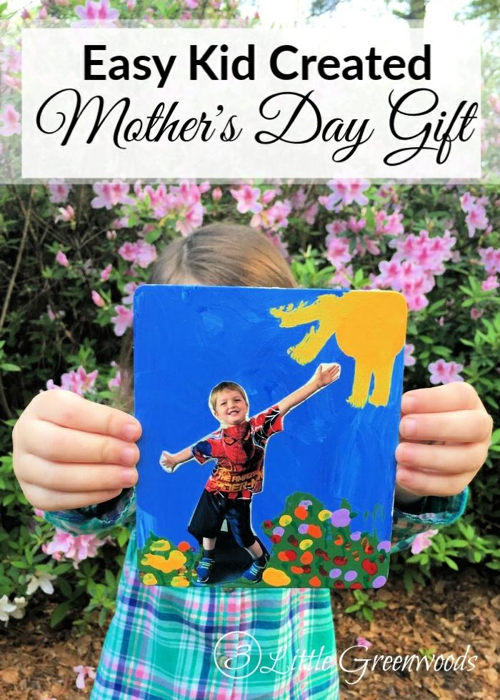 ideas de regalos originales para madres, manualidades dia de la madre infantil, cuadro decorativo con foto y dibujos