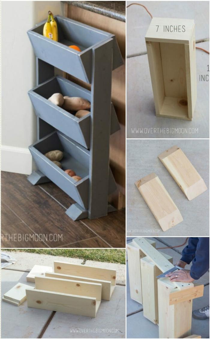 caja de almacenaje moderna hecha de caja de rutas, originales ideas sobre como decorar la cocina paso a paso en fotos